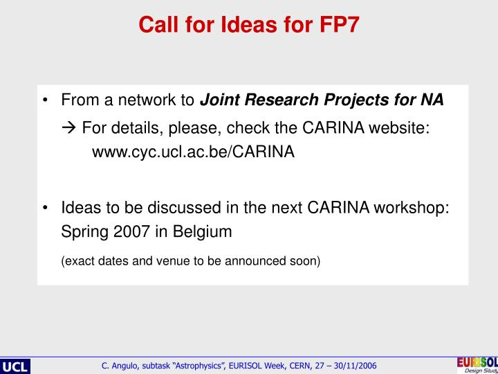 Call for Ideas for FP7