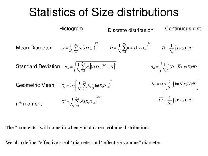 statistics of size distributions n.