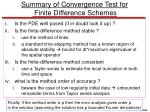 summary of convergence test for finite difference schemes