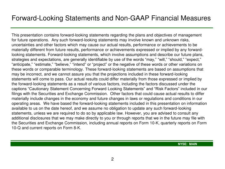 Forward looking statements and non gaap financial measures