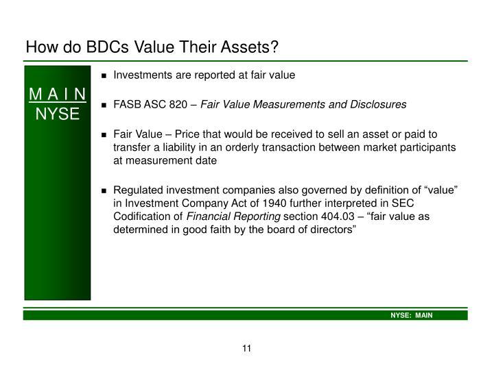 How do BDCs Value Their Assets?