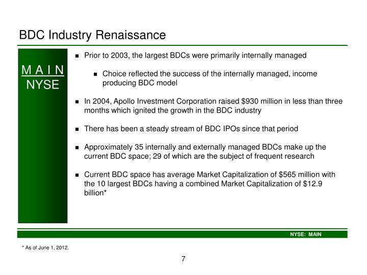 BDC Industry Renaissance