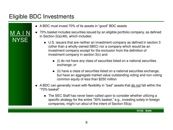 Eligible BDC Investments