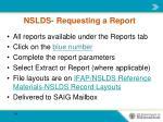 nslds requesting a report
