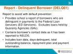 report delinquent borrower delq01