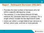 report delinquent borrower delq011