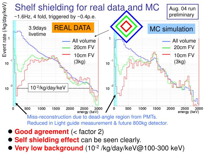 Shelf shielding for real data and MC