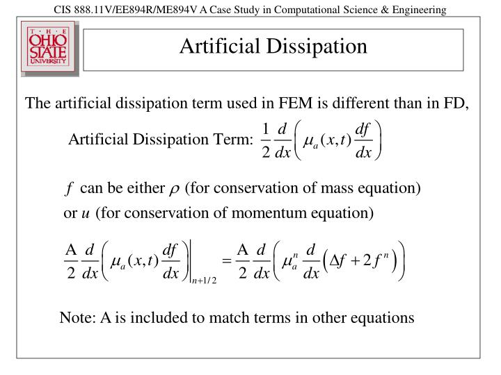 Artificial dissipation