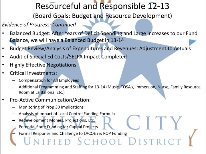 Resourceful and Responsible 12-13