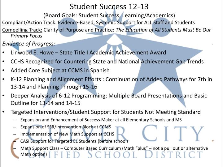 Student Success 12-13