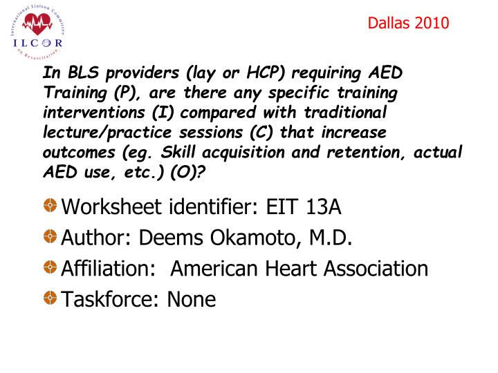 In BLS providers (lay or HCP) requiring AED Training (P), are there any specific training interventi...