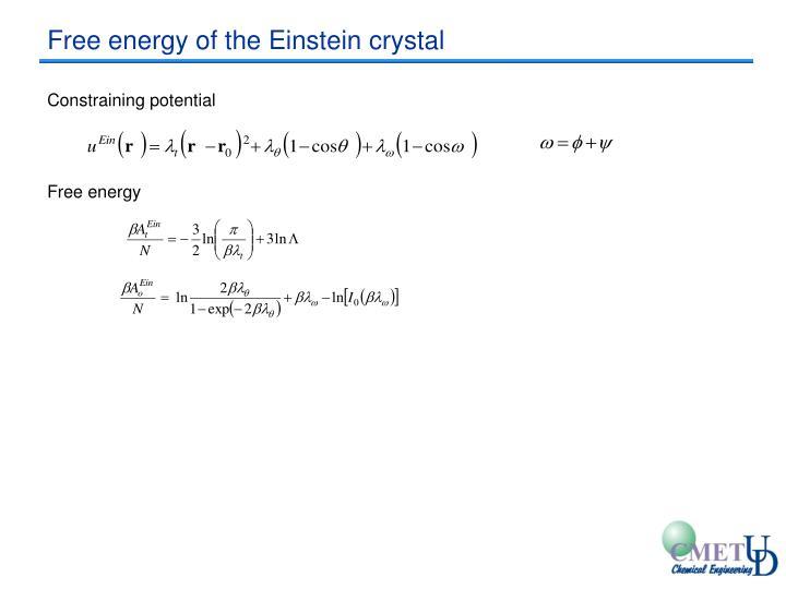 Free energy of the Einstein crystal