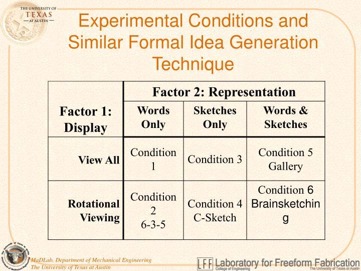 Experimental Conditions and Similar Formal Idea Generation Technique