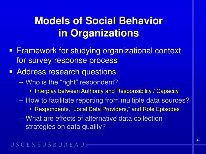 Models of Social Behavior