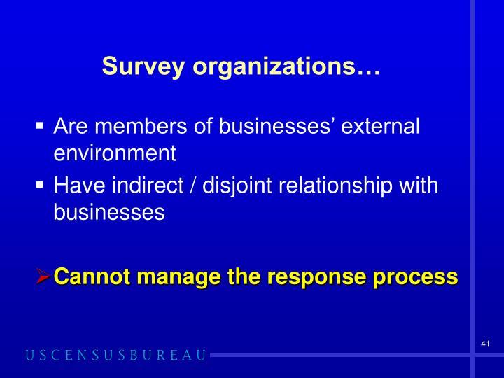Survey organizations…