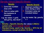 density versus specific gravity