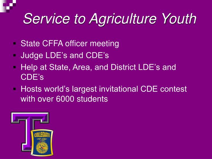 Service to Agriculture Youth