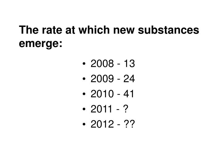 The rate at which new substances emerge: