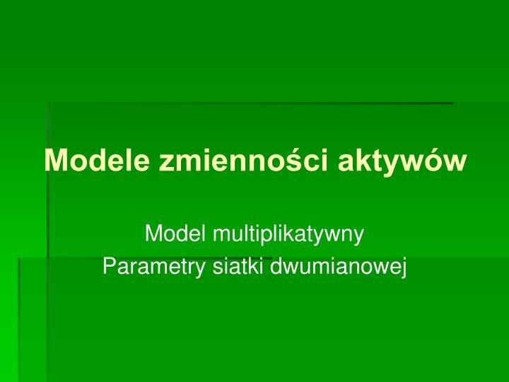 modele zmienno ci aktyw w