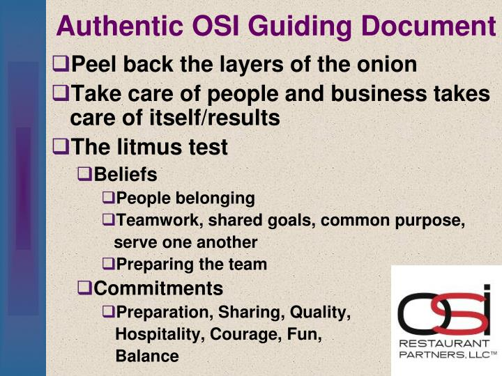 Authentic OSI Guiding Document