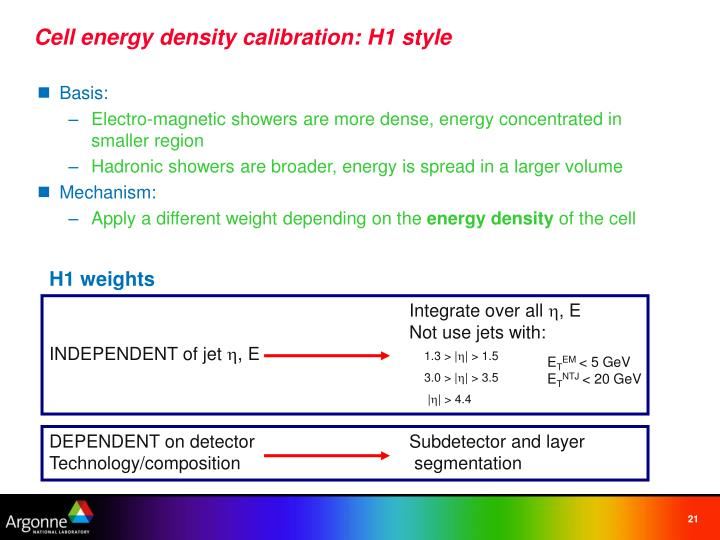 Cell energy density calibration: H1 style