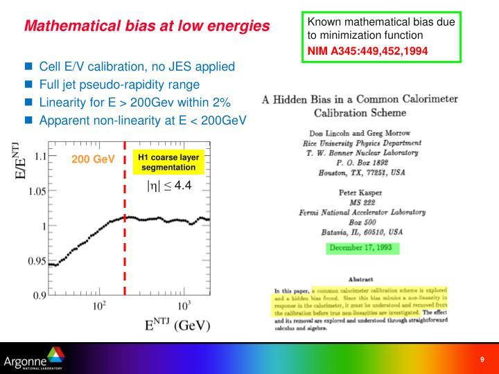Known mathematical bias due to minimization function