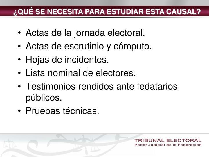 Actas de la jornada electoral.