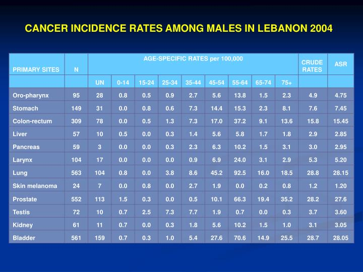 CANCER INCIDENCE RATES AMONG MALES IN LEBANON 2004