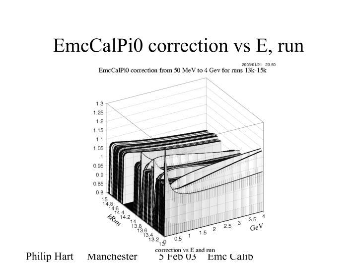 Emccalpi0 correction vs e run