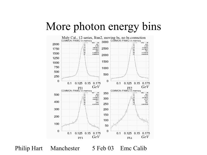 More photon energy bins