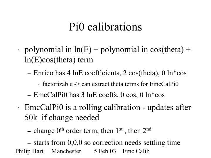Pi0 calibrations