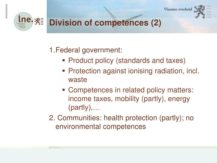 Division of competences 2