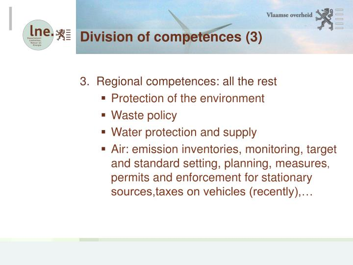 Division of competences (3)
