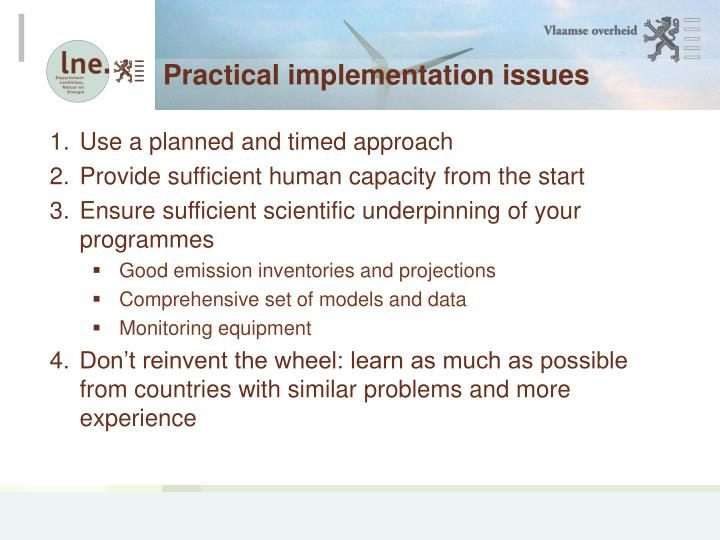 Practical implementation issues