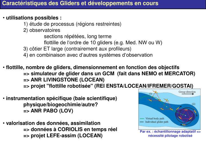 Caractéristiques des Gliders et développements en cours