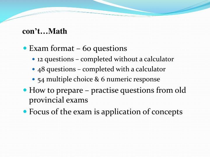 con't…Math