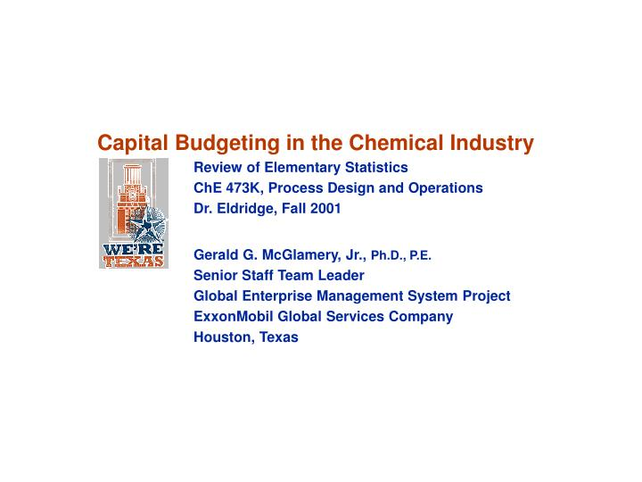 Capital Budgeting in the Chemical Industry