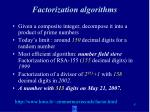 factorization algorithms