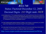 rsa 768 status factored december 12 2009 decimal digits 232 digit sum 1018