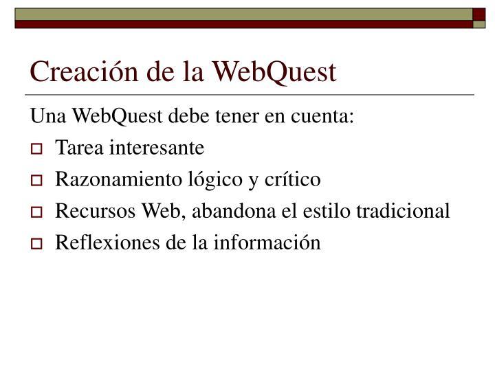 Creación de la WebQuest