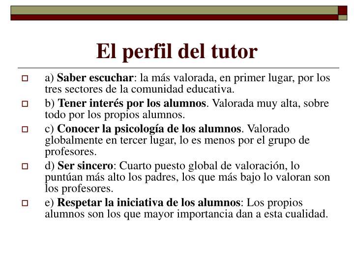 El perfil del tutor