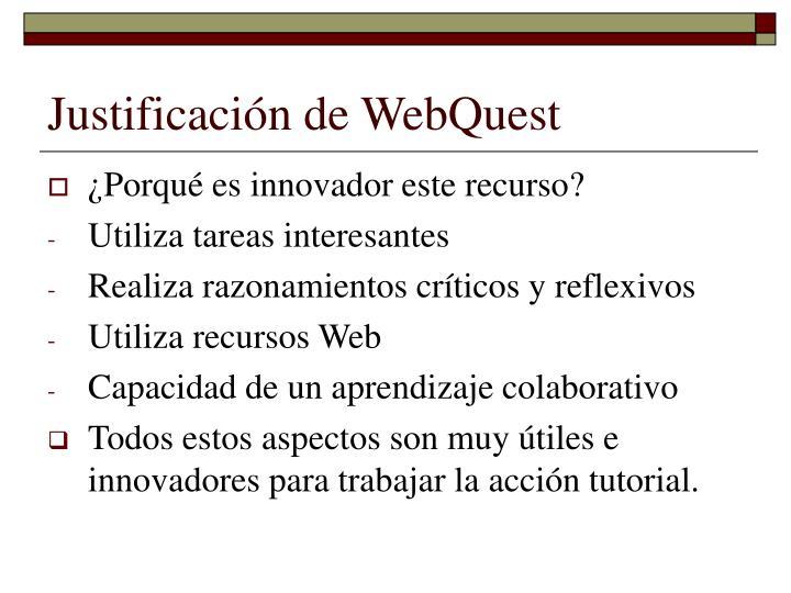 Justificación de WebQuest