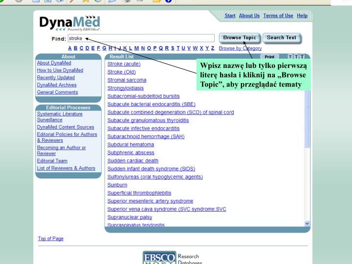 """Wpisz nazwę lub tylko pierwszą literę hasła i kliknij na """"Browse Topic"""", aby przeglądać tematy"""
