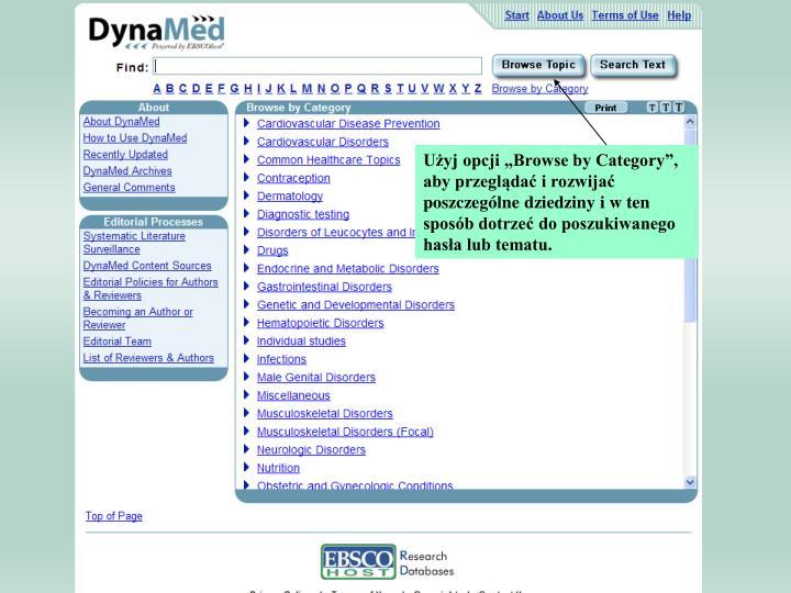 """Użyj opcji """"Browse by Category"""", aby przeglądać i rozwijać poszczególne dziedziny i w ten sposób dotrzeć do poszukiwanego hasła lub tematu."""