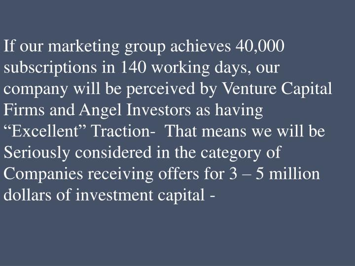If our marketing group achieves 40,000 subscriptions in 140 working days, our company will be perceived by Venture Capital