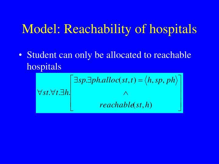 Model: Reachability of hospitals