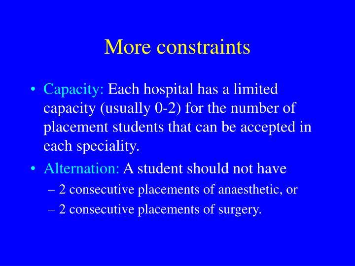 More constraints