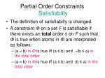 partial order constraints satisfiabilty