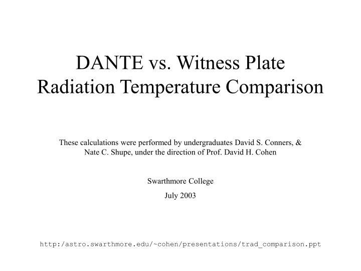 Dante vs witness plate radiation temperature comparison