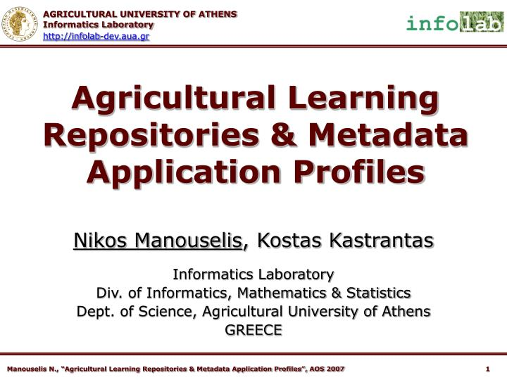 agricultural learning repositories metadata application profiles n.